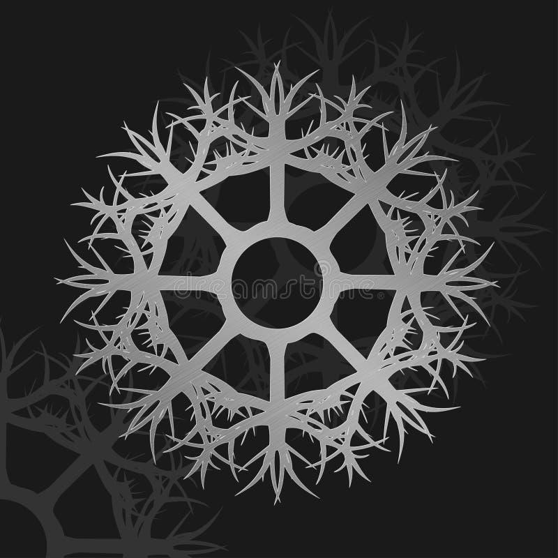 Ilustração do ornamento metálico da roda de prata imagem de stock