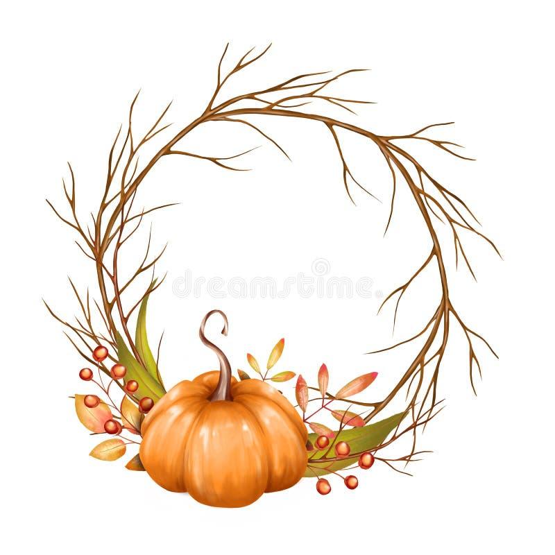 Ilustração do outono, grinalda com abóbora ilustração do vetor