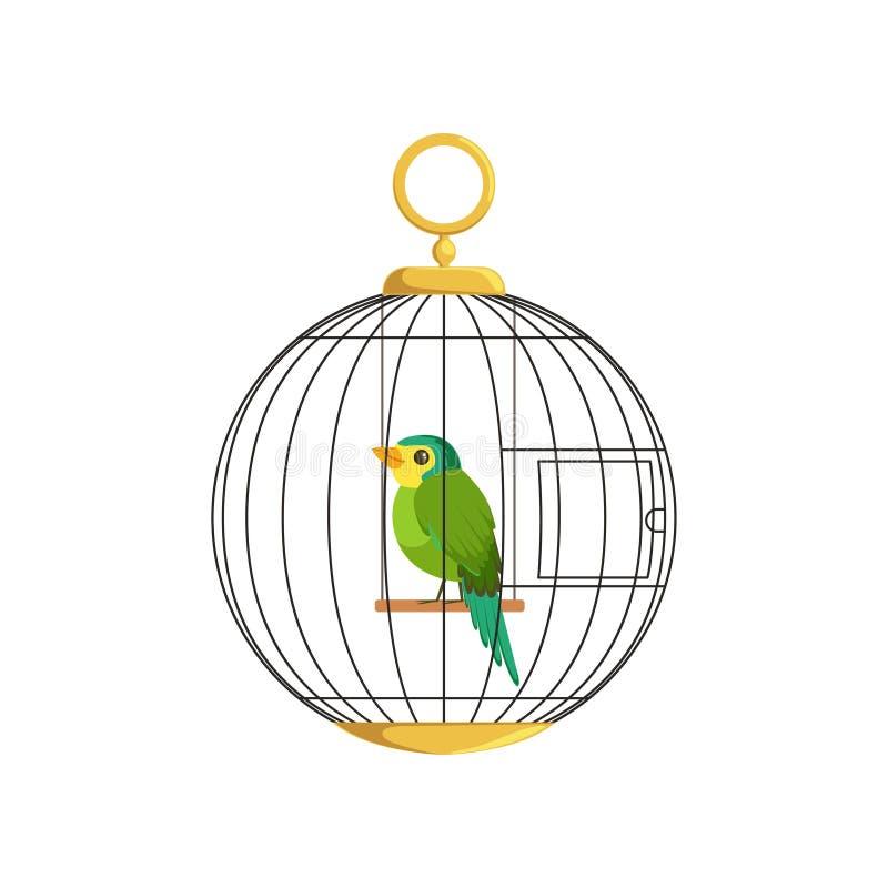 Ilustração do pássaro pequeno colorido na gaiola Passarinho verde do canto Pilha de suspensão na forma redonda Canário doméstico  ilustração do vetor