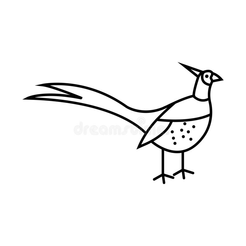 Ilustração do pássaro do símbolo do sinal do vetor do pássaro do faisão ilustração stock