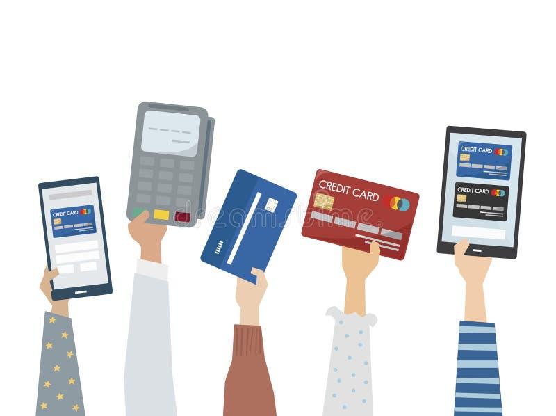 Ilustração do pagamento em linha com cartões de crédito ilustração stock