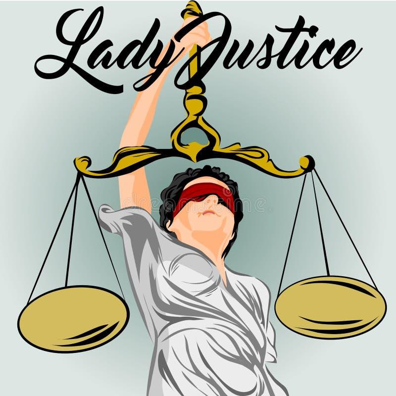 ilustração do papel de parede da arte do projeto de justiça da senhora ilustração stock