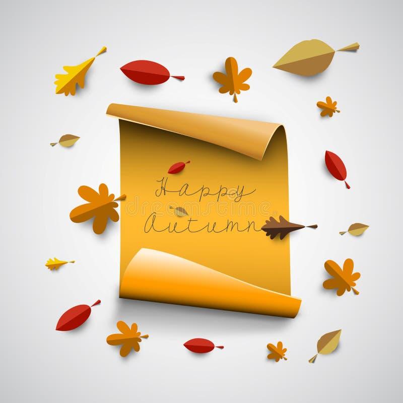 Ilustração do papercut do outono com as folhas coloridas abstratas e o tr ilustração do vetor