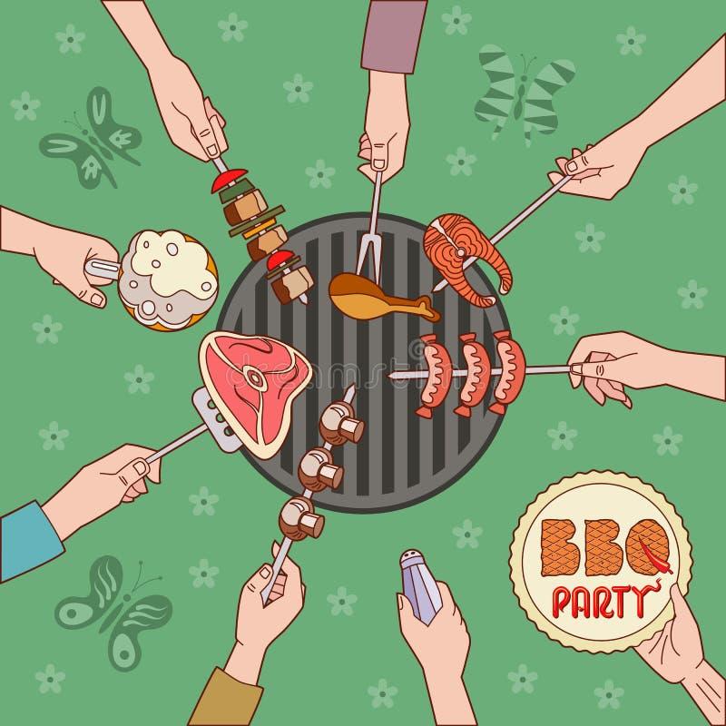 Ilustração do PARTIDO do BBQ ilustração stock