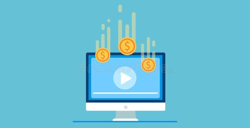 Ilustração do pay per view Jogue o vídeo no computador após o seu obtêm o dinheiro ilustração do vetor