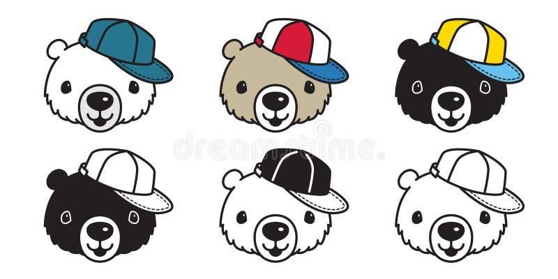 Ilustração do personagem de banda desenhada do basebol do chapéu do tampão do urso polar do vetor do urso ilustração royalty free