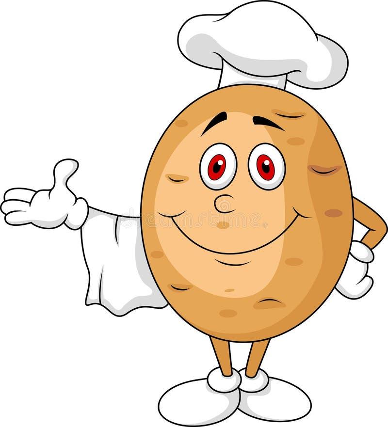 Personagem de banda desenhada bonito do cozinheiro chefe da batata ilustração royalty free