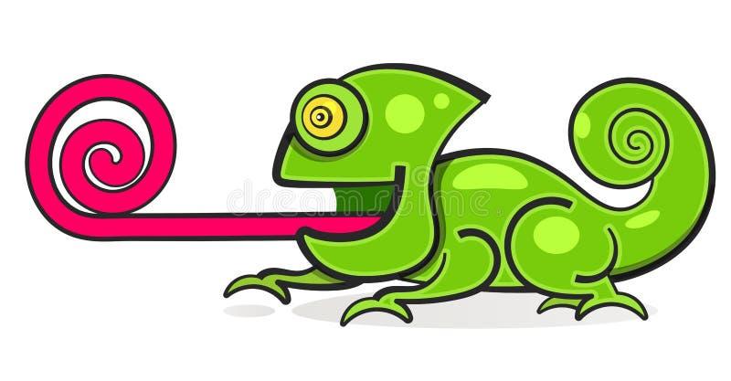 Ilustração do personagem de banda desenhada da cor do arco-íris do lagarto do camaleão ilustração stock