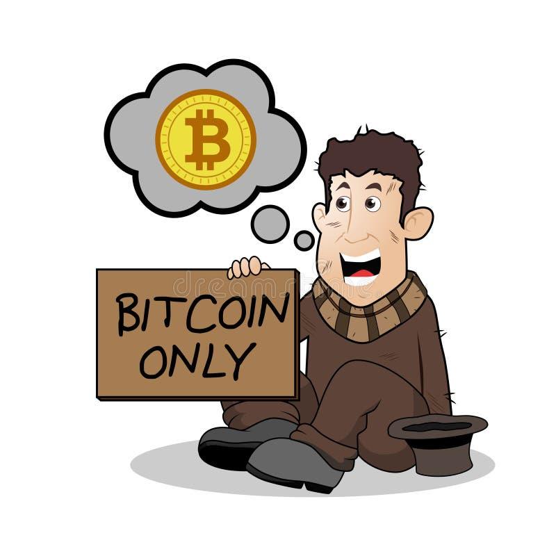 Ilustração do personagem de banda desenhada do mendigo de Bitcoin ilustração stock