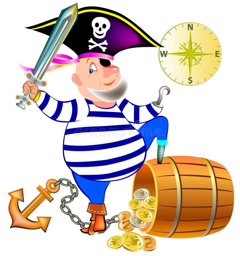 Ilustração do pirata alegre com um tesouro ilustração do vetor