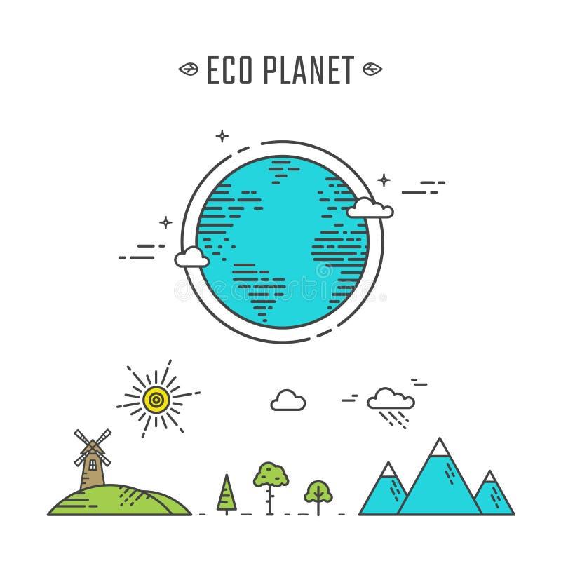Download Ilustração Do Planeta De Eco Ilustração do Vetor - Ilustração de verde, linear: 65576496