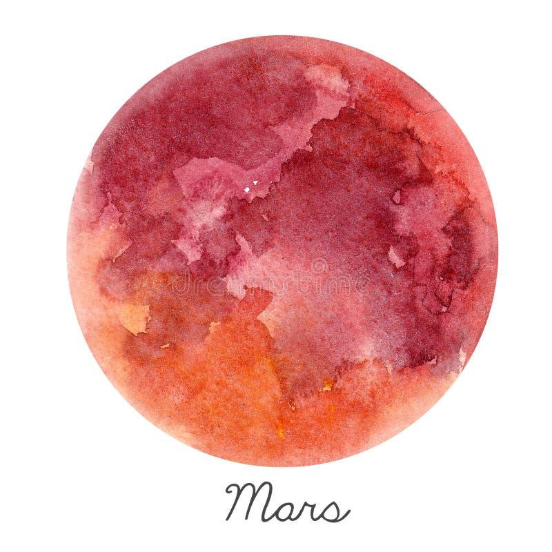Ilustração do planeta de Marte da aquarela ilustração stock