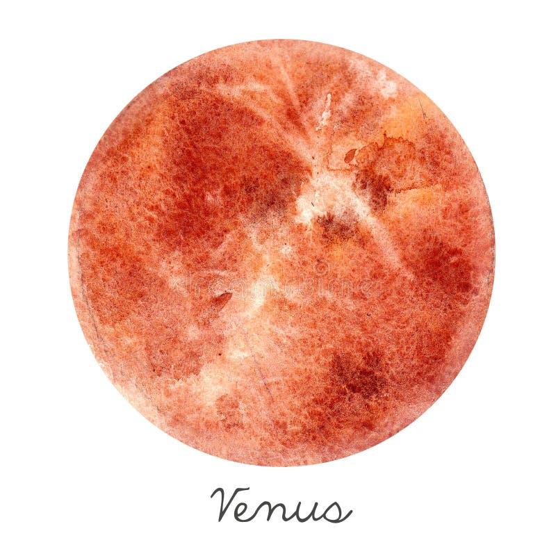 Ilustração do planeta do Vênus da aquarela ilustração stock