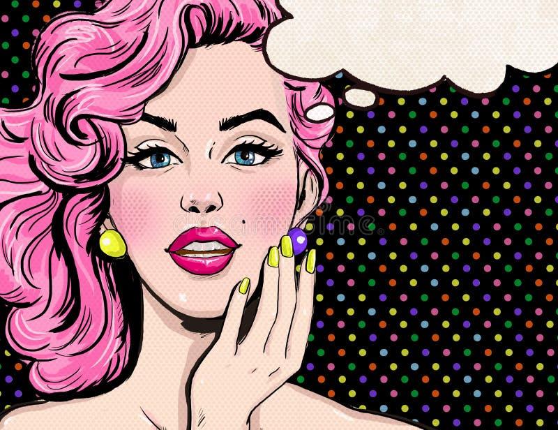 Ilustração do pop art da menina com a bolha do discurso Menina do pop art Convite do partido ilustração royalty free