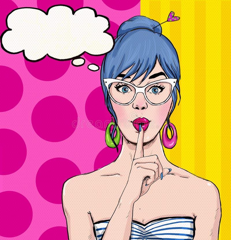 Ilustração do pop art da menina com a bolha do discurso Menina do pop art Convite do partido Cartão do aniversário Estrela de cin ilustração stock