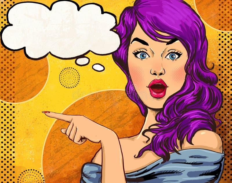 Ilustração do pop art da menina com a bolha do discurso Menina do pop art Convite do partido Cartão do aniversário Estrela de cin ilustração do vetor
