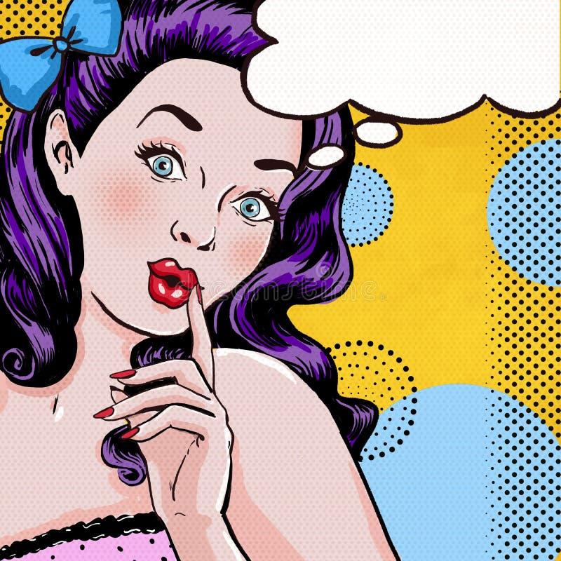 Ilustração do pop art da mulher com a bolha do discurso Menina do pop art Cartão do aniversário ilustração stock