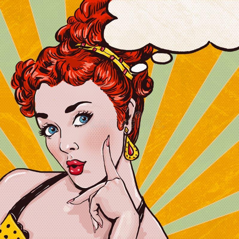 Ilustração do pop art da mulher com a bolha do discurso Menina do pop art Cartão do aniversário ilustração do vetor