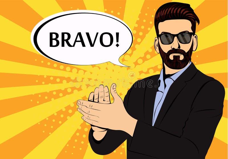 Ilustração do pop art do aplauso do homem de negócios da barba do moderno ilustração do vetor