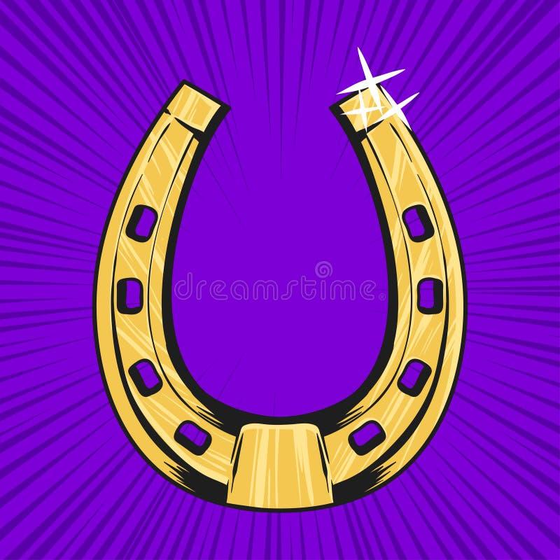 Ilustração do pop art do vetor da ferradura dourada Símbolo da sorte ilustração do vetor