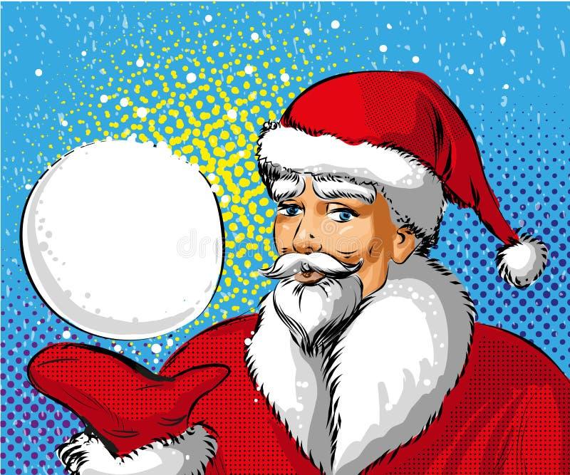 Ilustração do pop art do vetor da bola de neve da exibição de Santa Claus ilustração stock