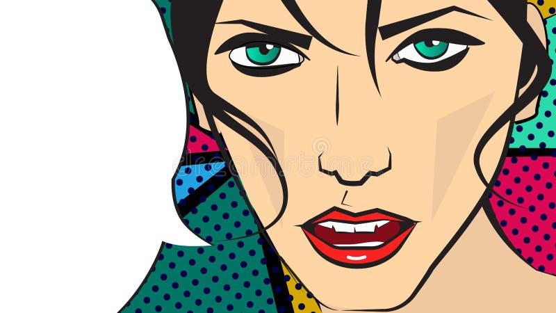Ilustração do pop art do vetor de uma menina do cabelo escuro e de uma bolha faladora ilustração royalty free