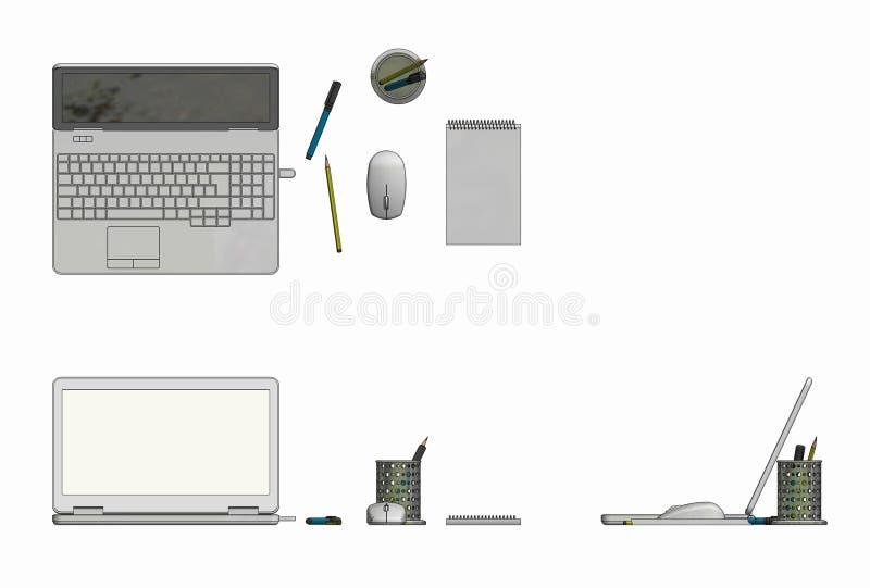 Ilustração do portátil com o bloco de notas e os lápis sem corda do rato fotografia de stock