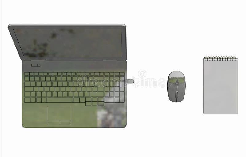Ilustração do portátil com o bloco de notas sem corda do rato imagem de stock