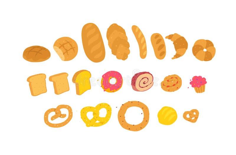 Ilustração do produtos de forno Vetor ?cones para o local Entrega da padaria e de confeitos frescos Sinais, logotipo para a loja  ilustração do vetor