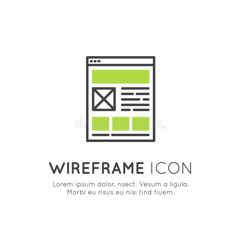 Ilustração do projeto da disposição de Wireframe, da programação da Web, da otimização de UI ou de UX, relação responsiva, rede,  ilustração royalty free