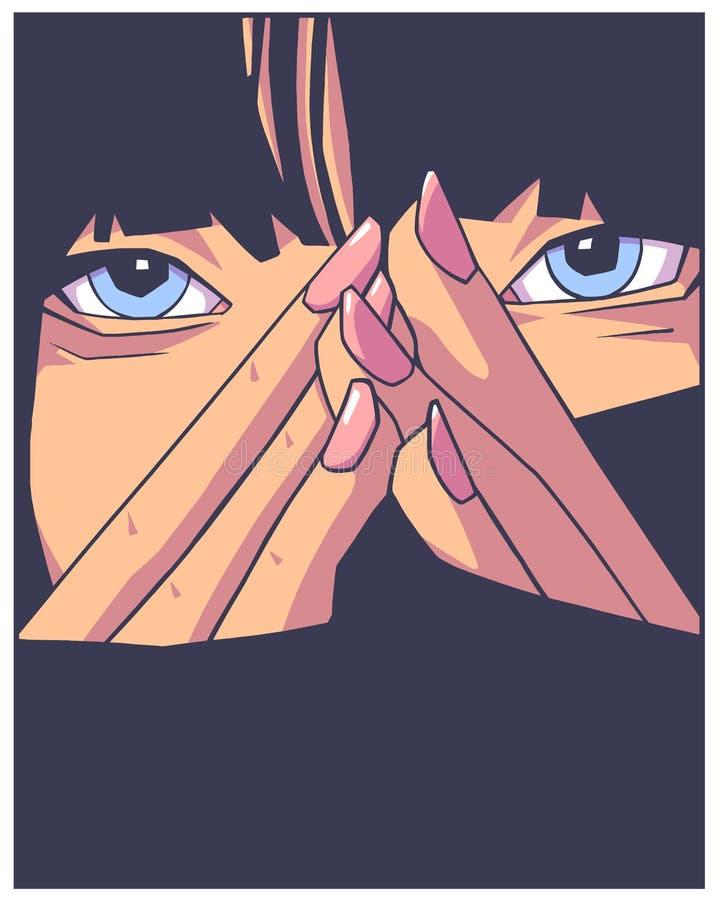 Ilustração do projeto da impressão da camisa de T de meninas atrativas no desenho do estilo da banda desenhada ilustração stock