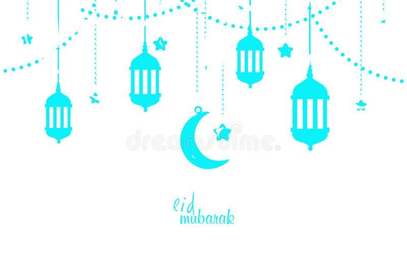 ilustração do projeto de cartão do feriado de Eid Mubarak Islamic ilustração royalty free
