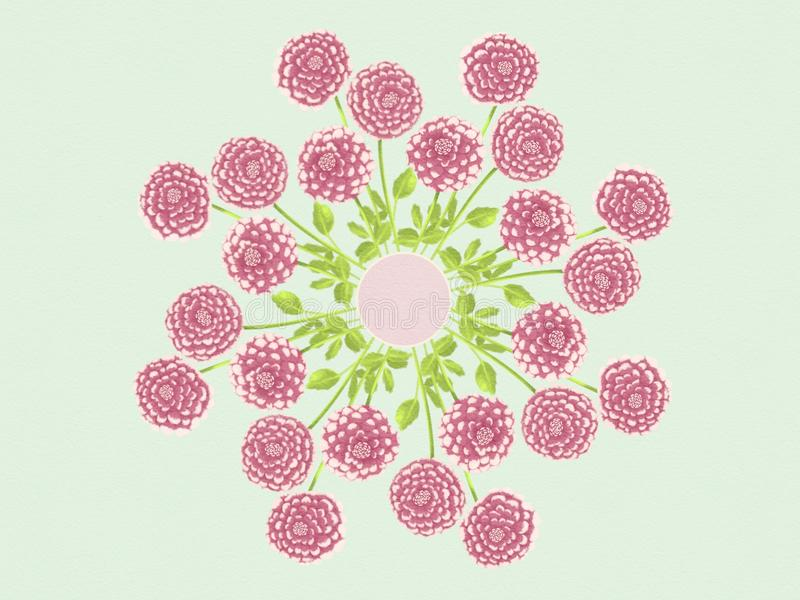 Ilustração do projeto de Dahlia Flowers Floral Mandala Background da aquarela fotografia de stock