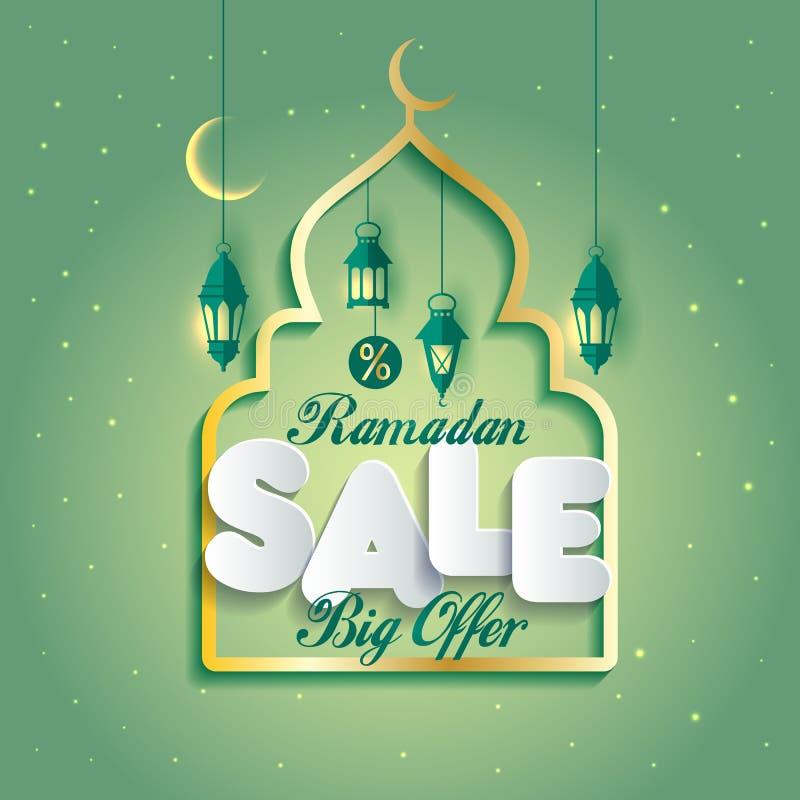Ilustração do projeto de Ramadan Kareem Islamic Arabic com mesquita ilustração do vetor