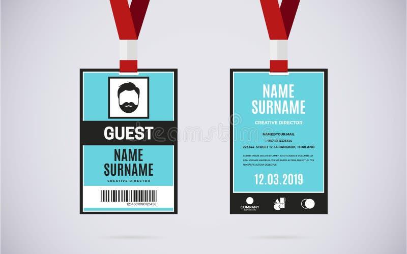 Ilustração do projeto do vetor do grupo de cartão da identificação do convidado ilustração do vetor