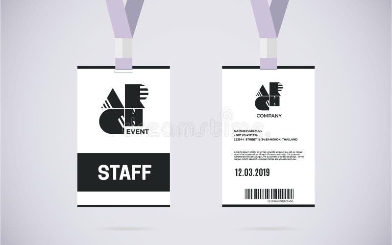 Ilustração do projeto do vetor do grupo de cartão da identificação do pessoal ilustração stock