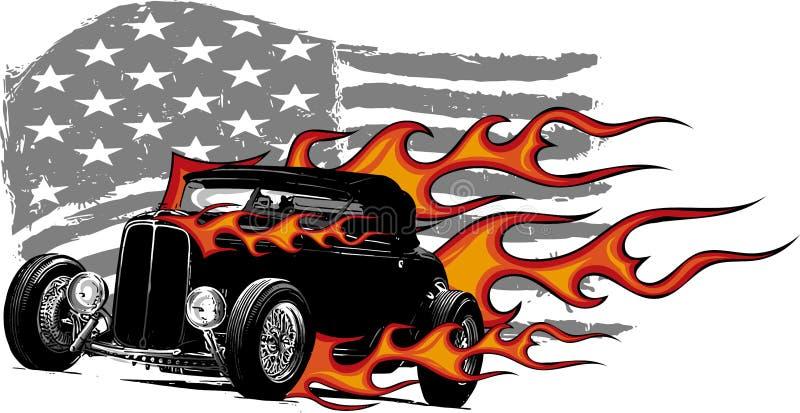 Ilustração do projeto gráfico de vetor de um carro americano do músculo ilustração royalty free