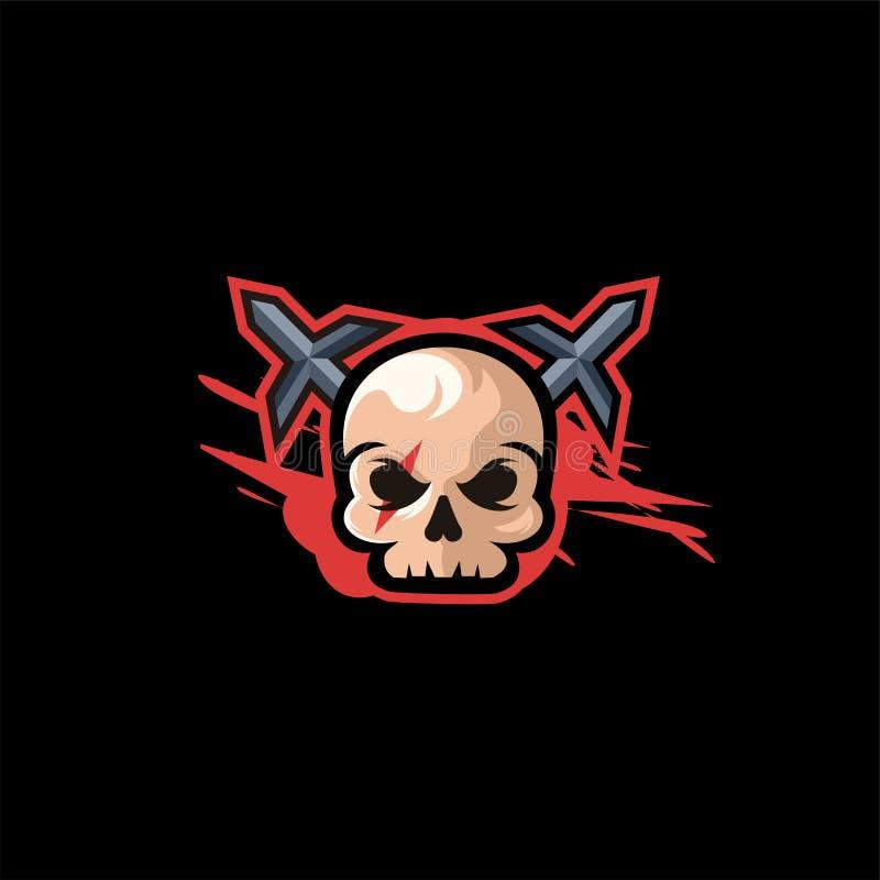Ilustração do projeto do logotipo do crânio ilustração do vetor