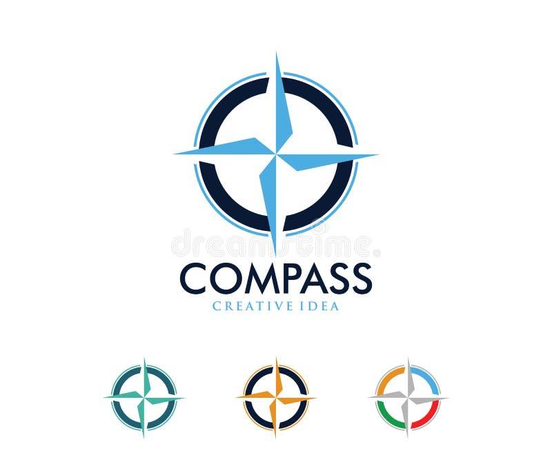 A ilustração do projeto do logotipo do vetor para a agência da excursão do curso, aventura do compasso da navegação do lugar, exp ilustração stock