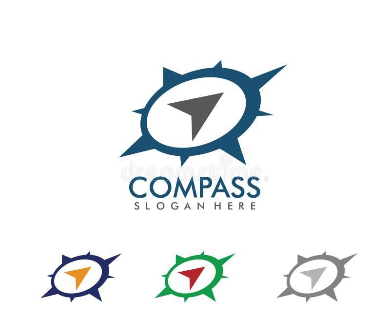 A ilustração do projeto do logotipo do vetor para a agência da excursão do curso, aventura do compasso da navegação do lugar, exp ilustração royalty free