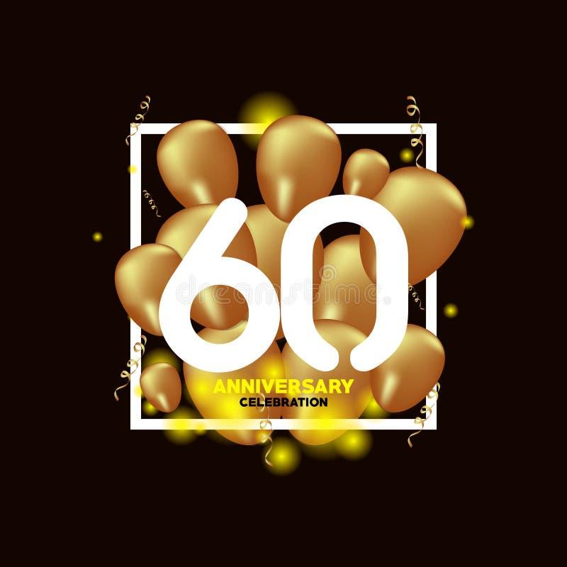 Ilustração do projeto do molde do vetor do balão do ouro branco de um aniversário de 60 anos ilustração stock
