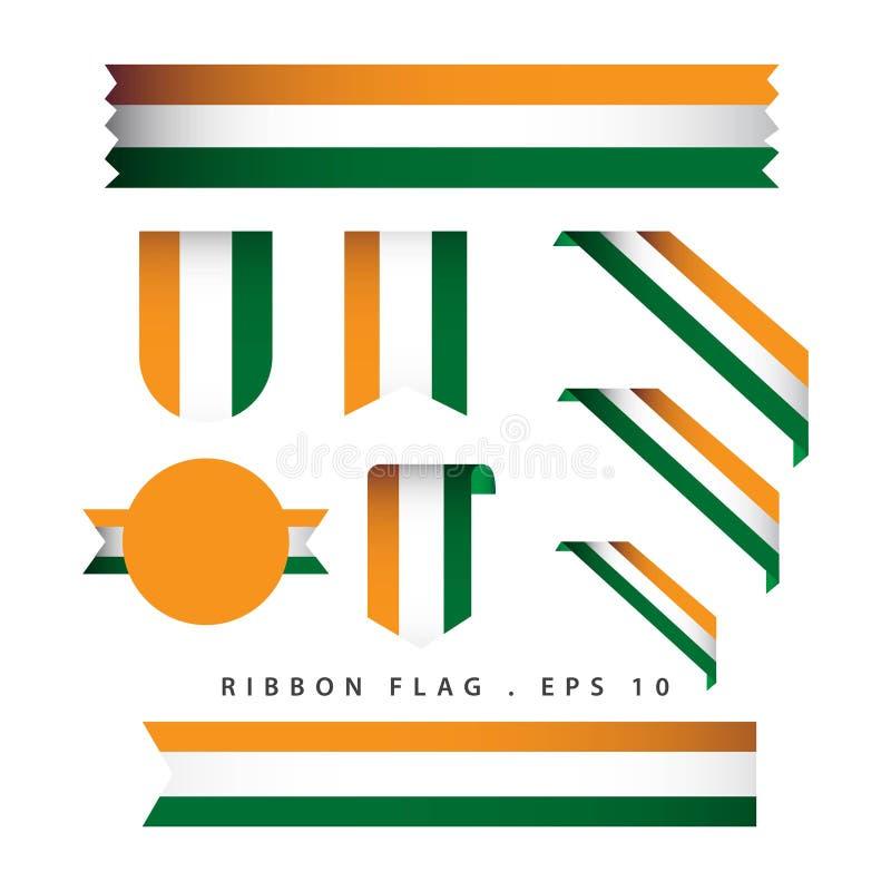 Ilustração do projeto do molde do vetor da bandeira da fita da Índia ilustração do vetor
