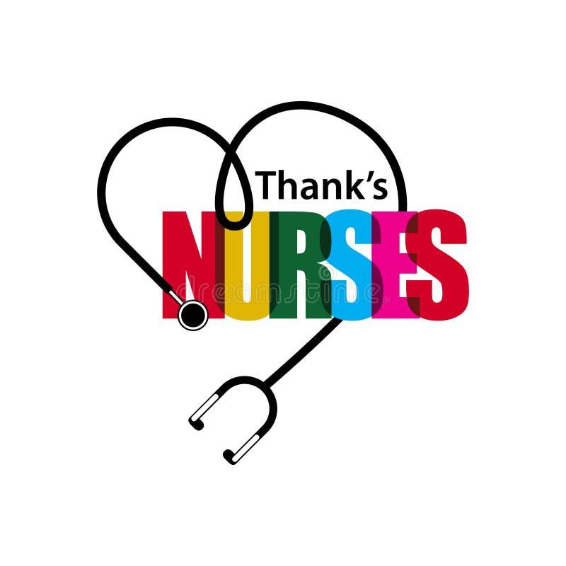 Ilustração do projeto do molde do vetor das enfermeiras dos agradecimentos ilustração royalty free