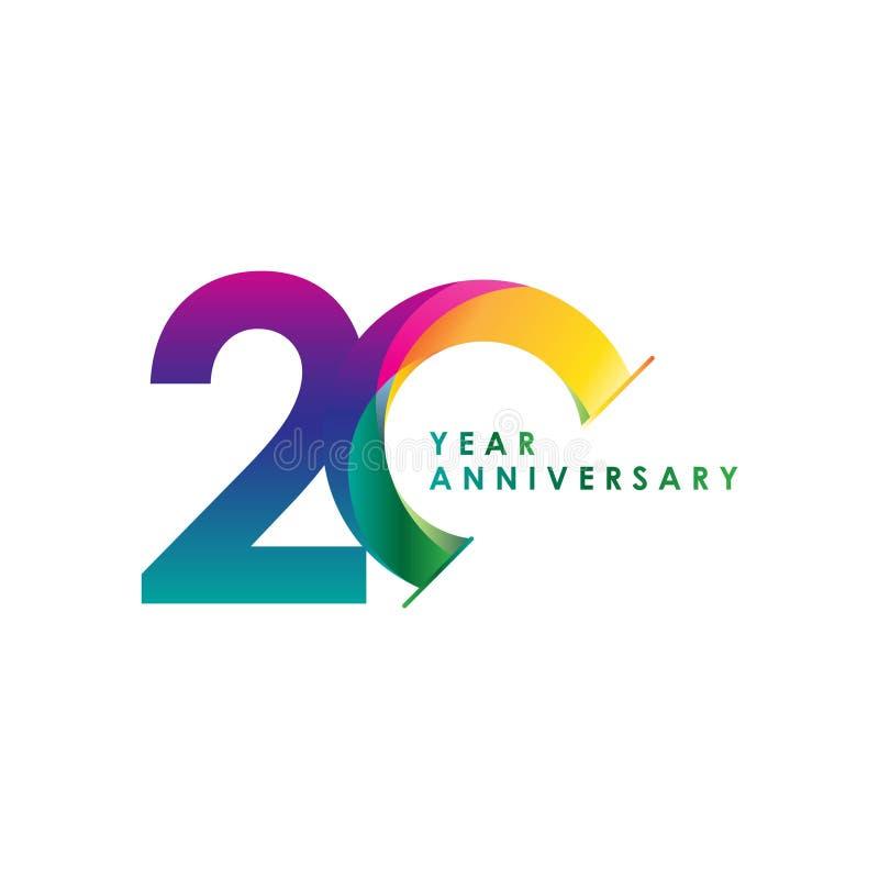 Ilustração do projeto do molde do vetor de um aniversário de 20 anos ilustração stock