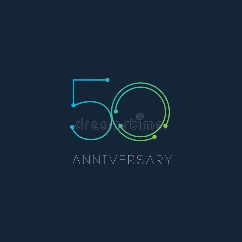 Ilustração do projeto do molde do vetor de um aniversário de 50 anos ilustração royalty free