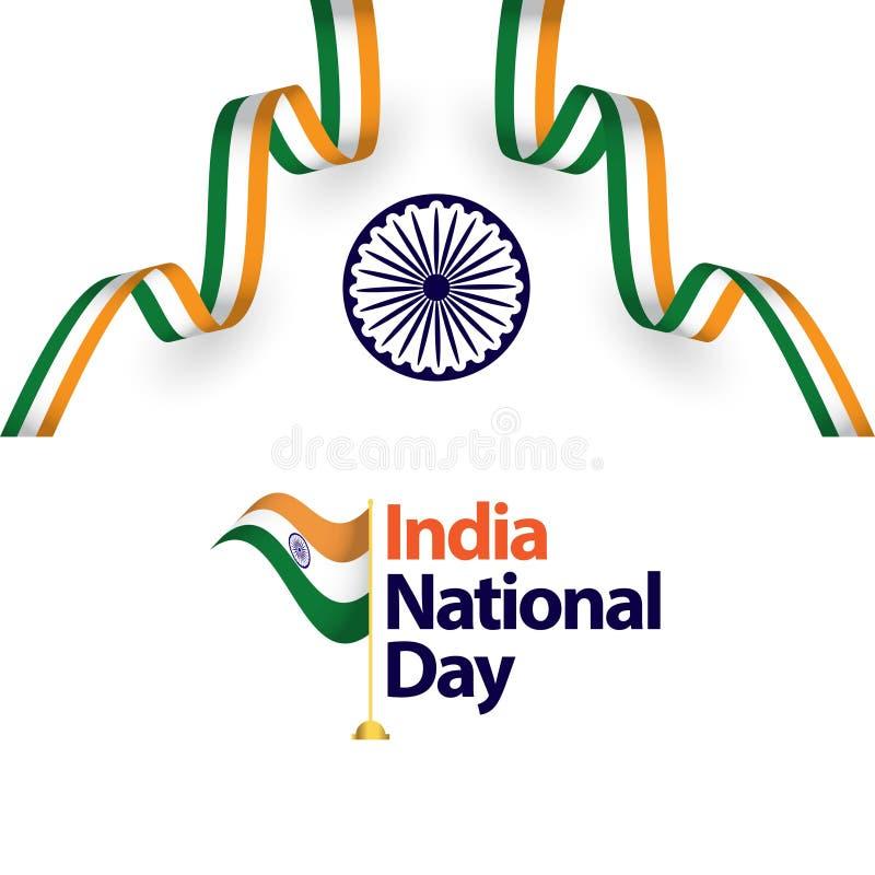Ilustração do projeto do molde do vetor do dia nacional da Índia ilustração stock