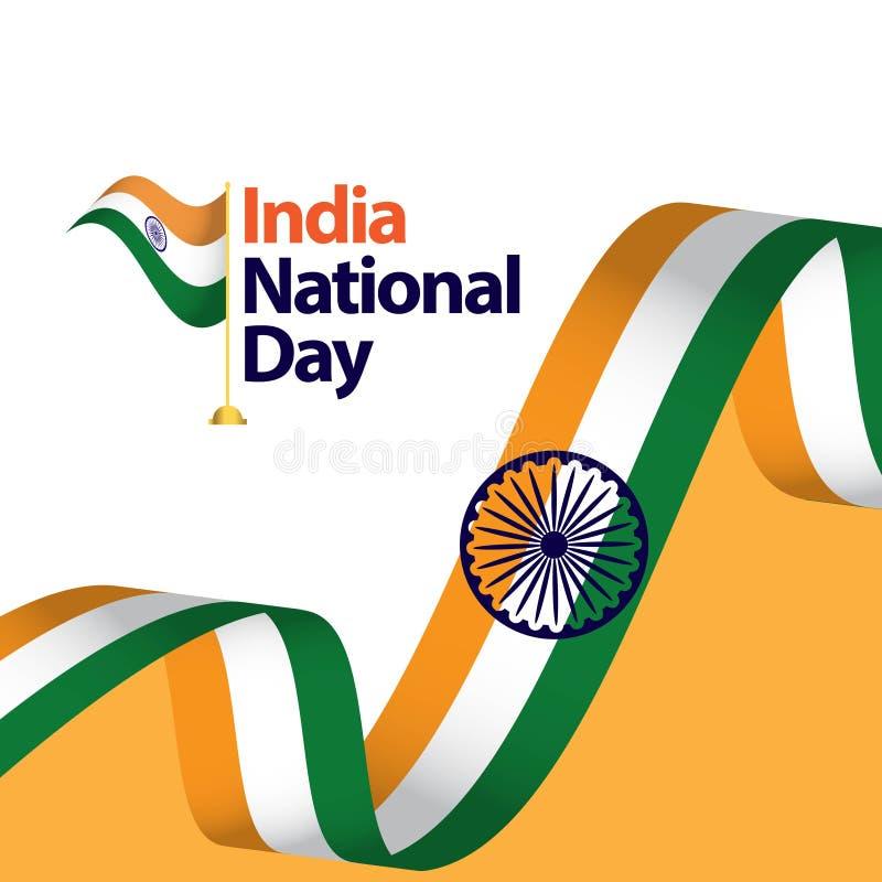 Ilustração do projeto do molde do vetor do dia nacional da Índia ilustração royalty free