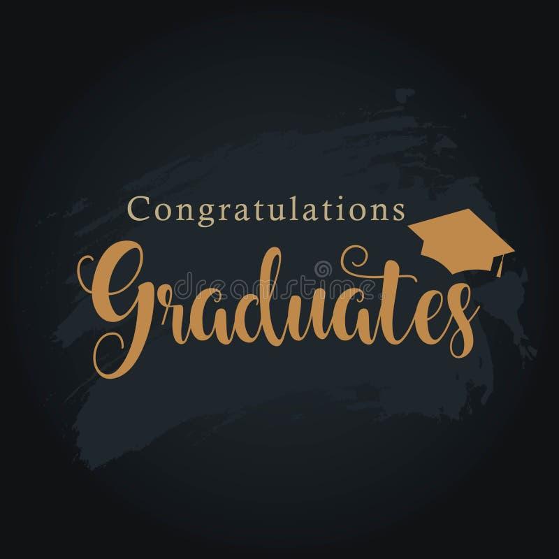 Ilustração do projeto do molde do vetor dos graduados das felicitações ilustração stock