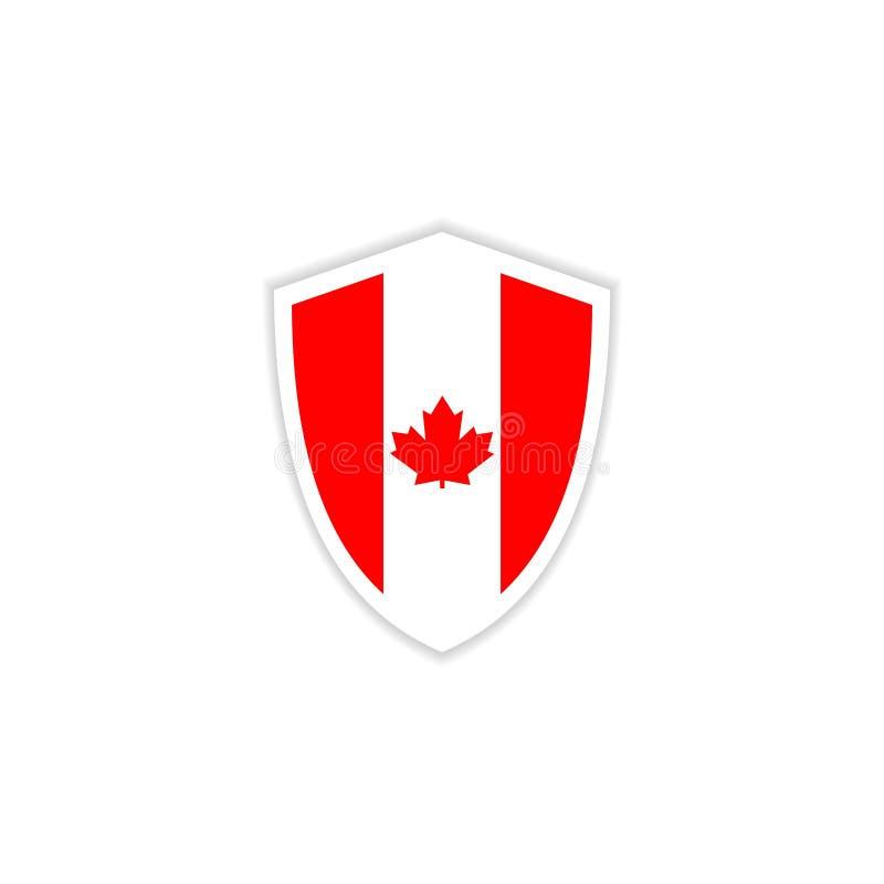 Ilustração do projeto do molde do vetor do emblema da bandeira de Canadá ilustração royalty free