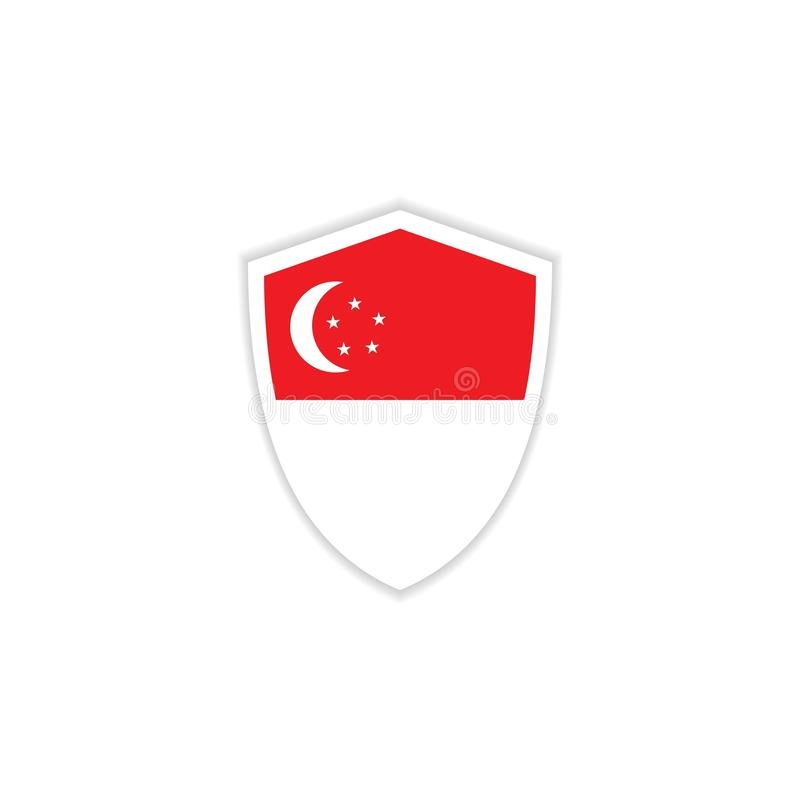 Ilustração do projeto do molde do vetor do emblema da bandeira de Singapura ilustração royalty free